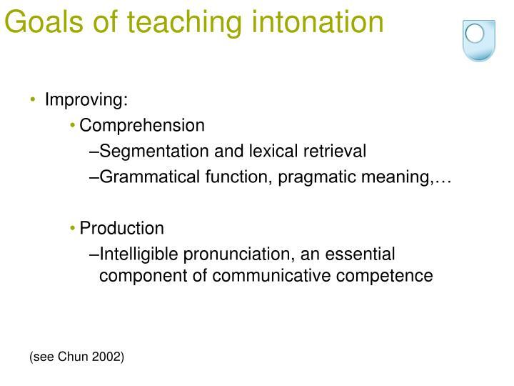 Goals of teaching intonation