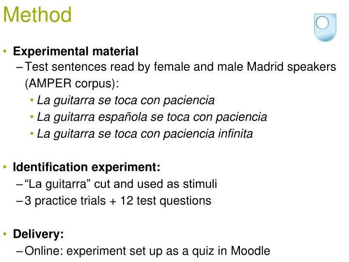 Experimental material