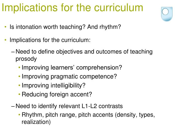 Implications for the curriculum