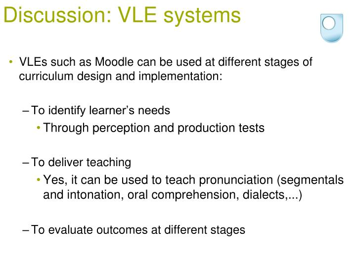 Discussion: VLE systems