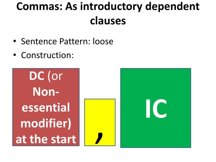 Commas: As introductory dependent clauses
