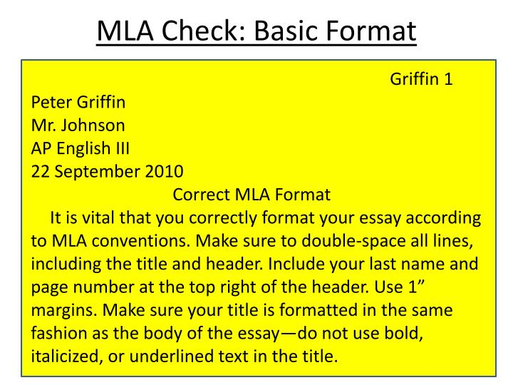 MLA Check: Basic Format