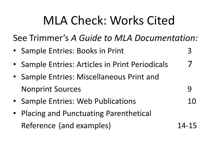 MLA Check: Works Cited