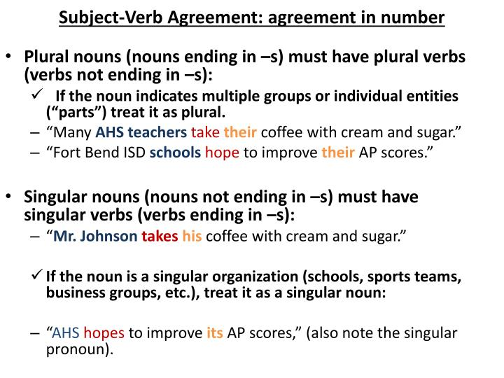 Subject-Verb Agreement: agreement in number