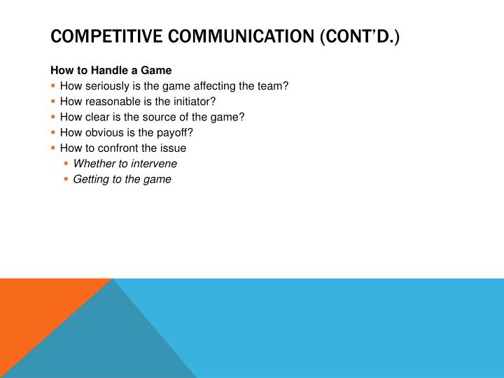 Competitive Communication (cont'd.)