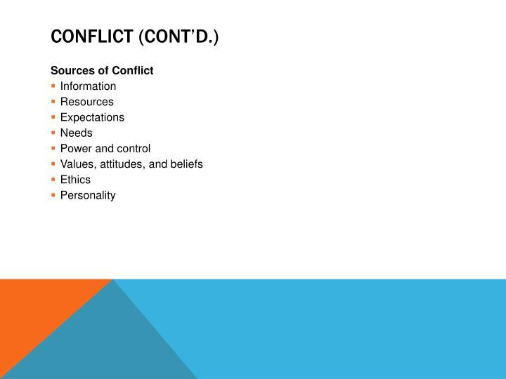 Conflict (cont'd.)