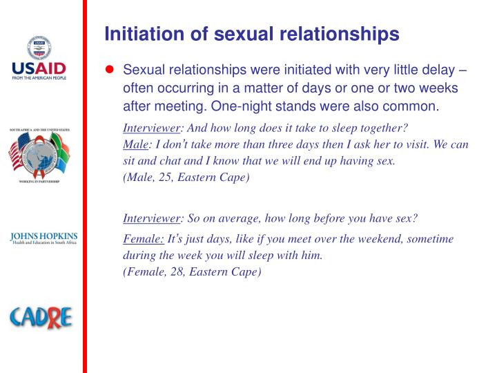 Initiation of sexual relationships