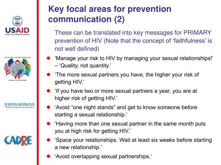 Key focal areas for prevention communication (2)