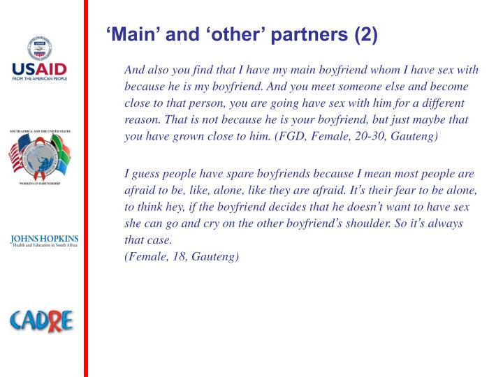 'Main' and 'other' partners (2)