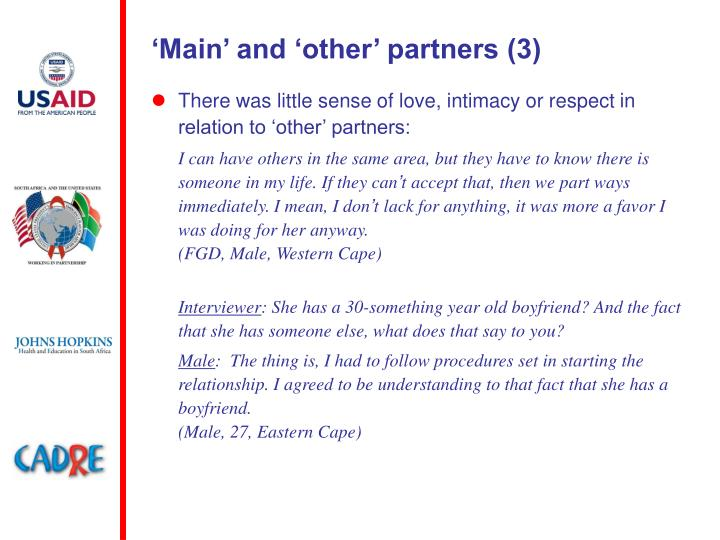 'Main' and 'other' partners (3)