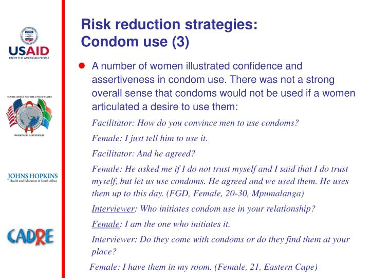 Risk reduction strategies:
