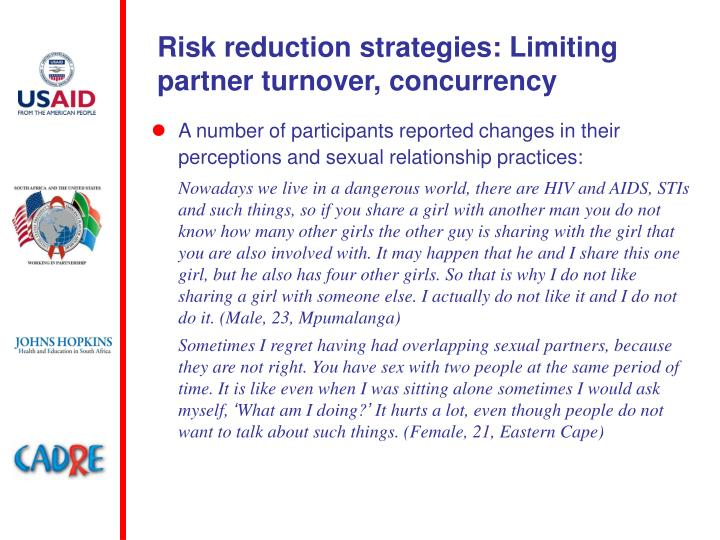 Risk reduction strategies: Limiting partner turnover, concurrency
