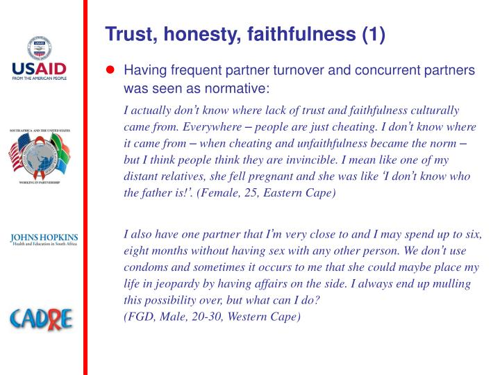 Trust, honesty, faithfulness (1)