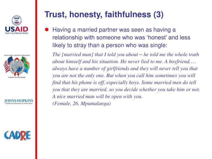Trust, honesty, faithfulness (3)