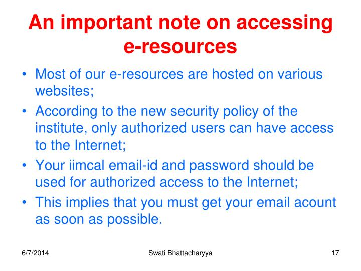 An important note on accessing e-resources