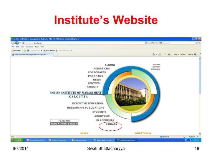 Institute's Website