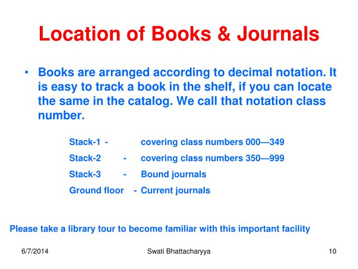 Location of Books & Journals