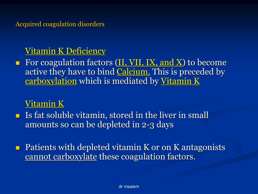 Acquired coagulation disorders