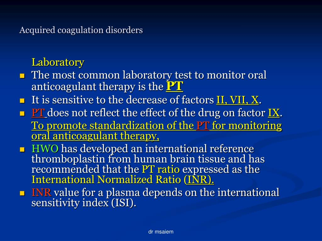 Acquired coagulation disorders