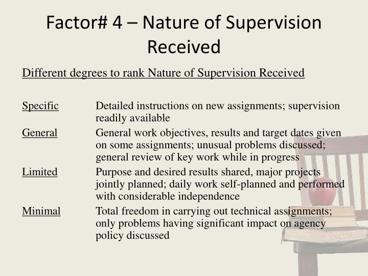 Factor# 4 – Nature of Supervision Received