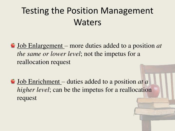 Testing the Position Management Waters