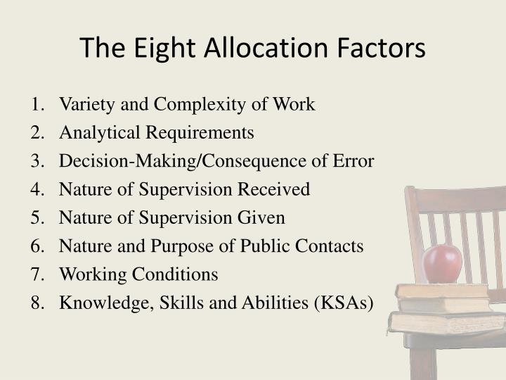 The Eight Allocation Factors