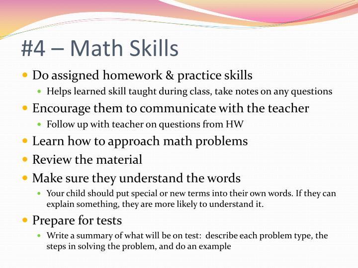 #4 – Math Skills