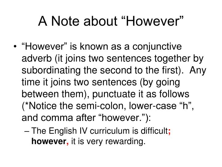 "A Note about ""However"""
