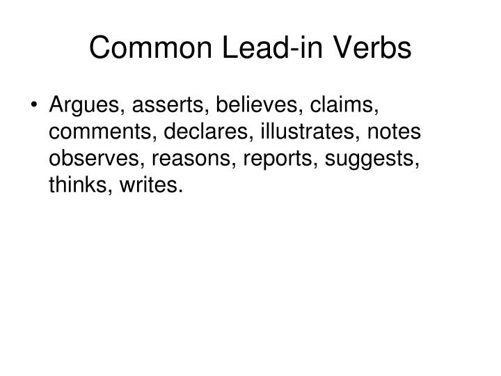 Common Lead-in Verbs