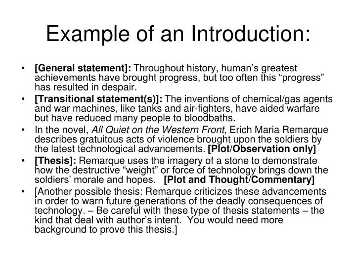 Example of an Introduction: