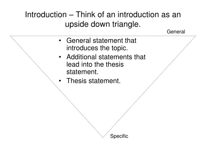 Introduction – Think of an introduction as an upside down triangle.