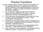 practice transitions