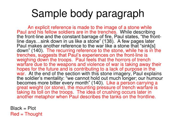 Sample body paragraph