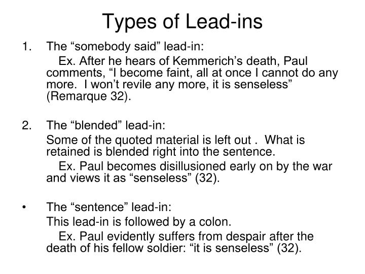 Types of Lead-ins