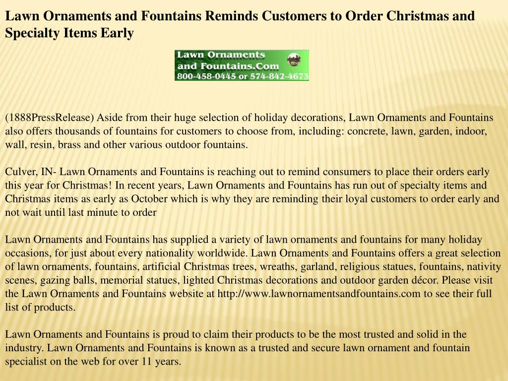 Lawn Ornaments and Fountains Reminds Customers to Order Christmas and Specialty Items Early