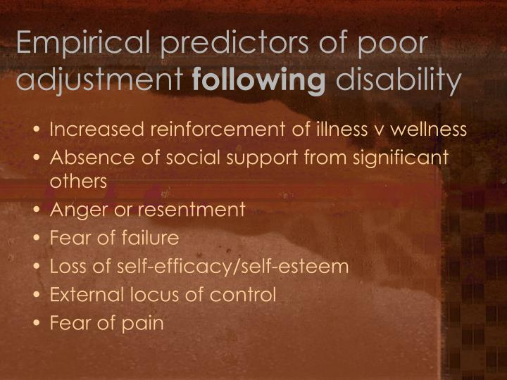 Empirical predictors of poor adjustment