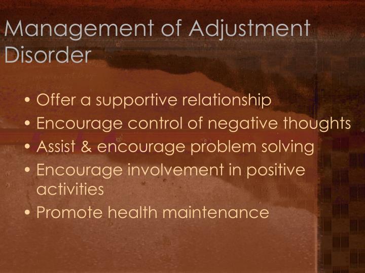 Management of Adjustment Disorder