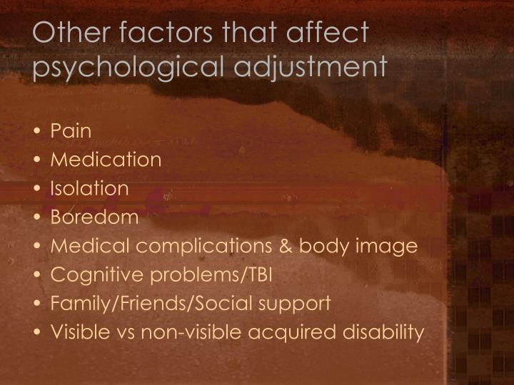 Other factors that affect psychological adjustment