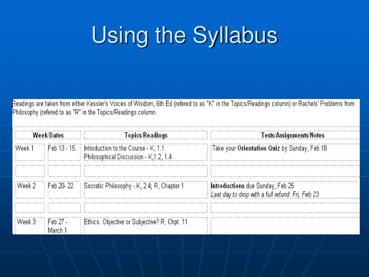Using the Syllabus