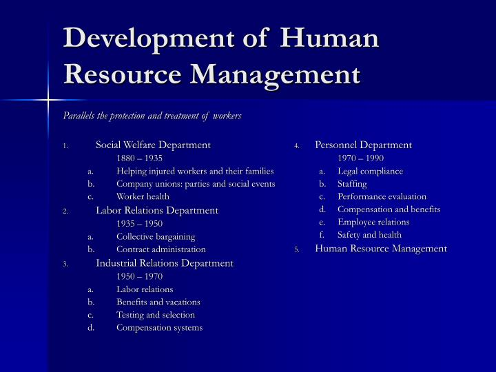 Development of human resource management