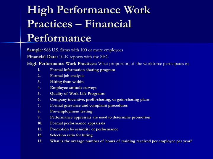 High Performance Work Practices – Financial Performance
