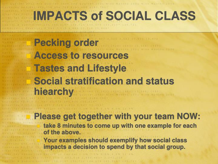 IMPACTS of SOCIAL CLASS