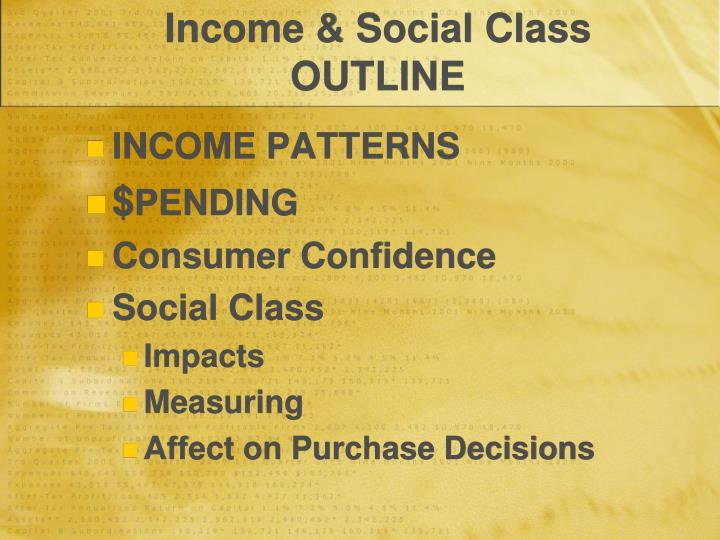 Income & Social Class