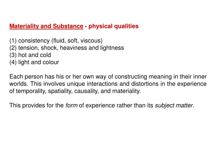 Materiality and Substance