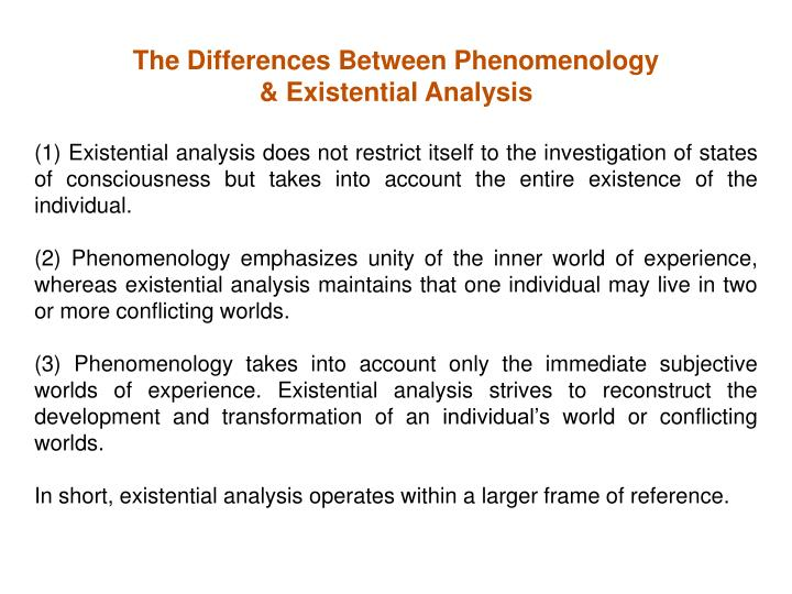 The Differences Between Phenomenology