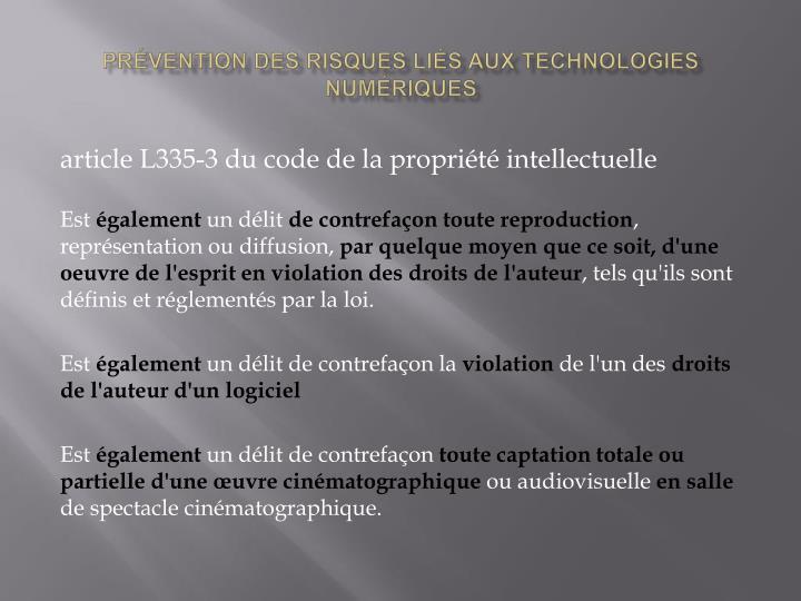 prévention des risques liés aux technologies numériques