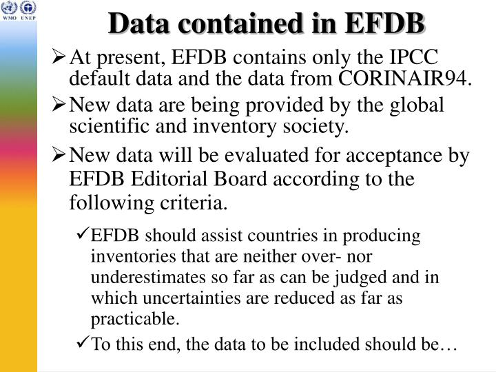 Data contained in EFDB