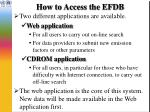 how to access the efdb