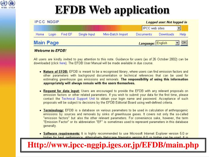 EFDB Web application