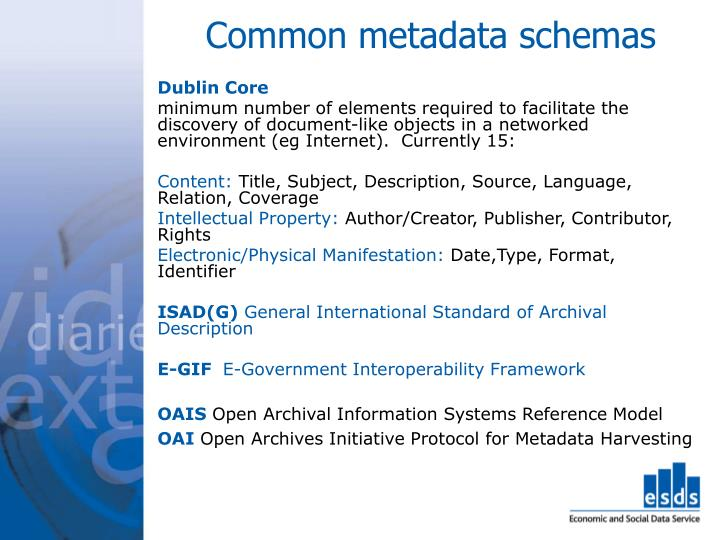 Common metadata schemas